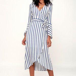 Lulus Blue White Striped Bell Sleeve Dress